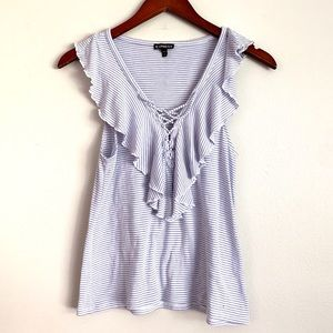 Express Blue and White Lace Front Ruffle Tank